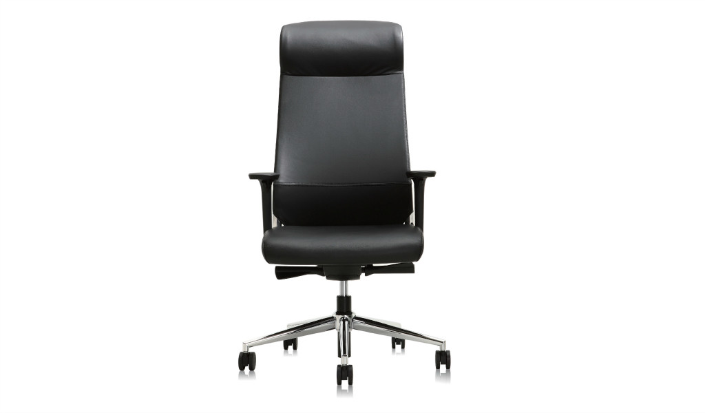 black leather office chair with headrest and steel base