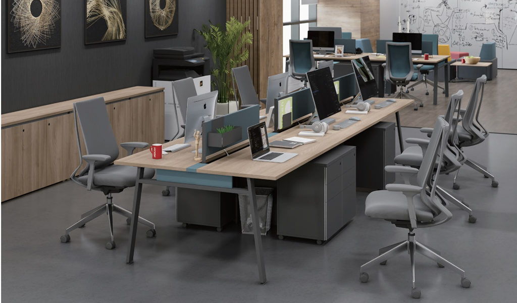 office with oakwood finish modular workstation and chair
