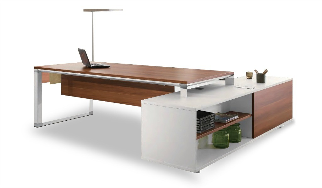 large office desk with side credenza