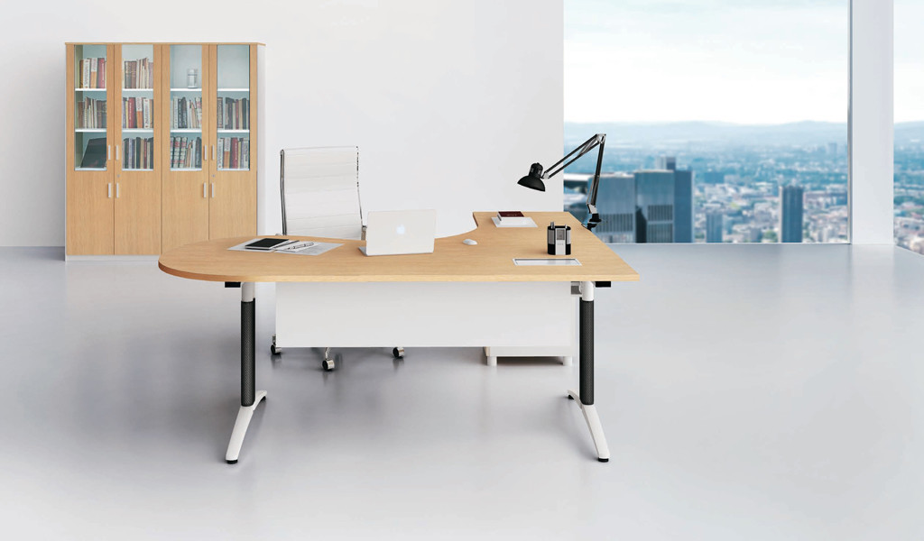 office cabin with L shaped office table and white leather chair