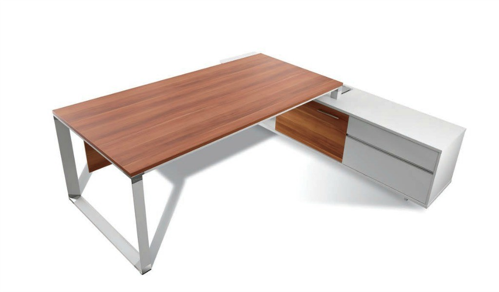 top inside view of office desk with side credenza