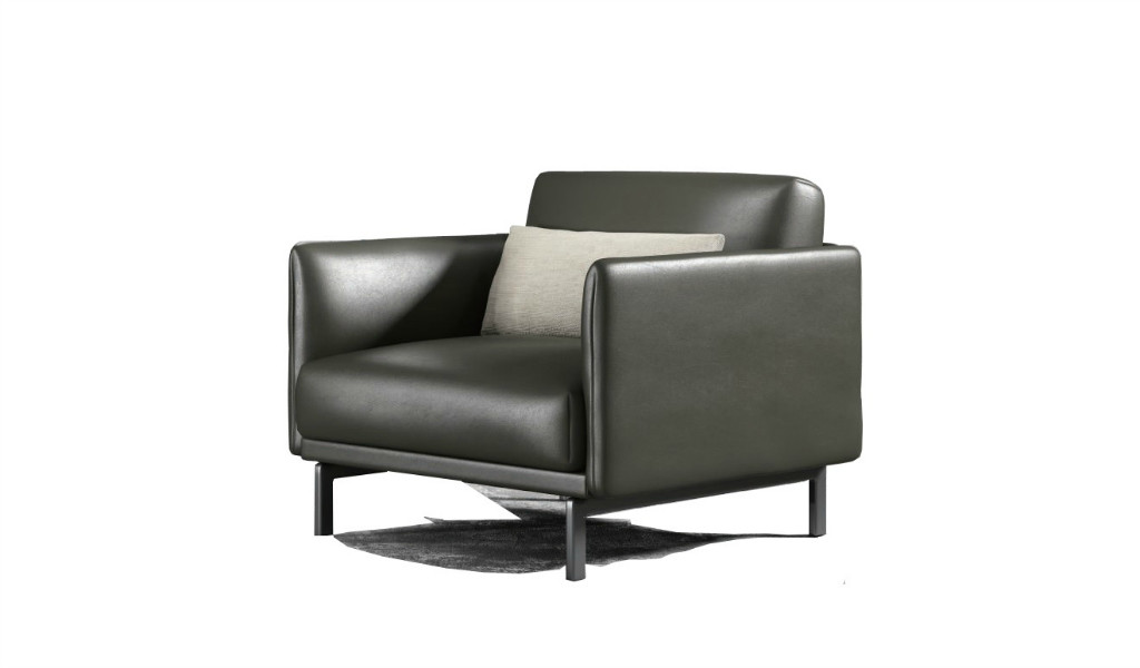 premium dark gray leather sofa with metal legs