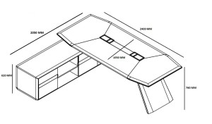 8 feet office desk design and size drawing
