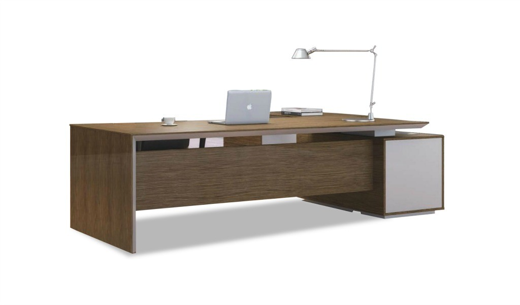 office table with a height adjustable side cabinet finished in walnut veneer