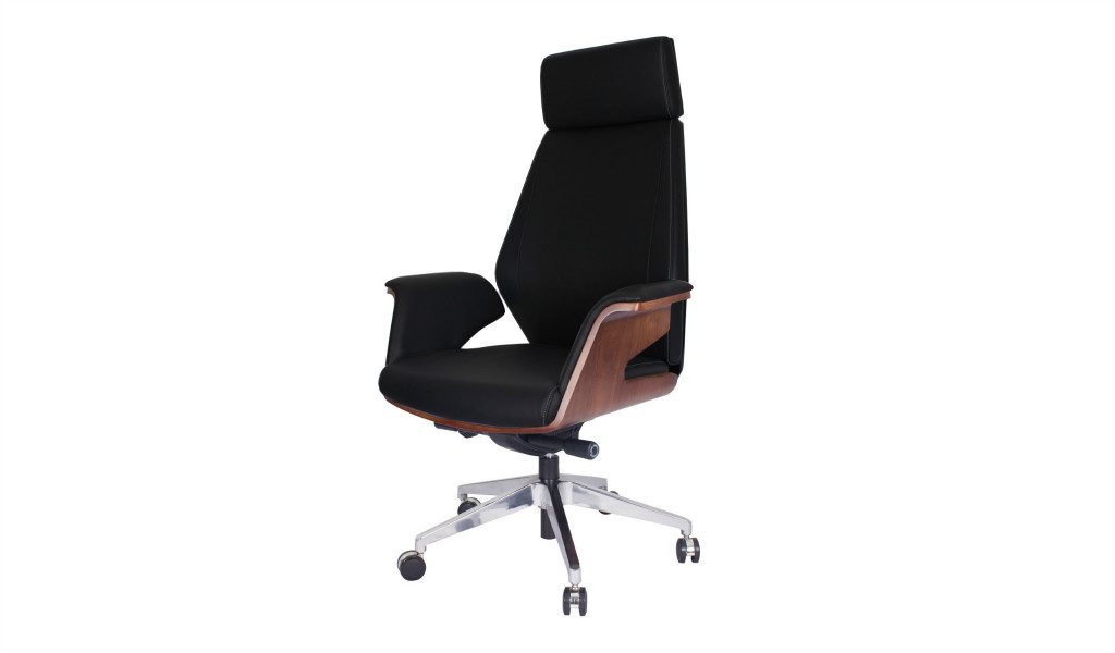 black leather office chair with headrest and walnut veneered armrests