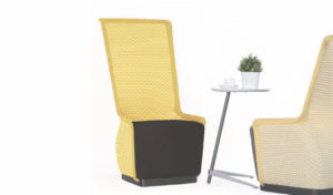 stylish lounge chairs in yellow fabric with coffee table