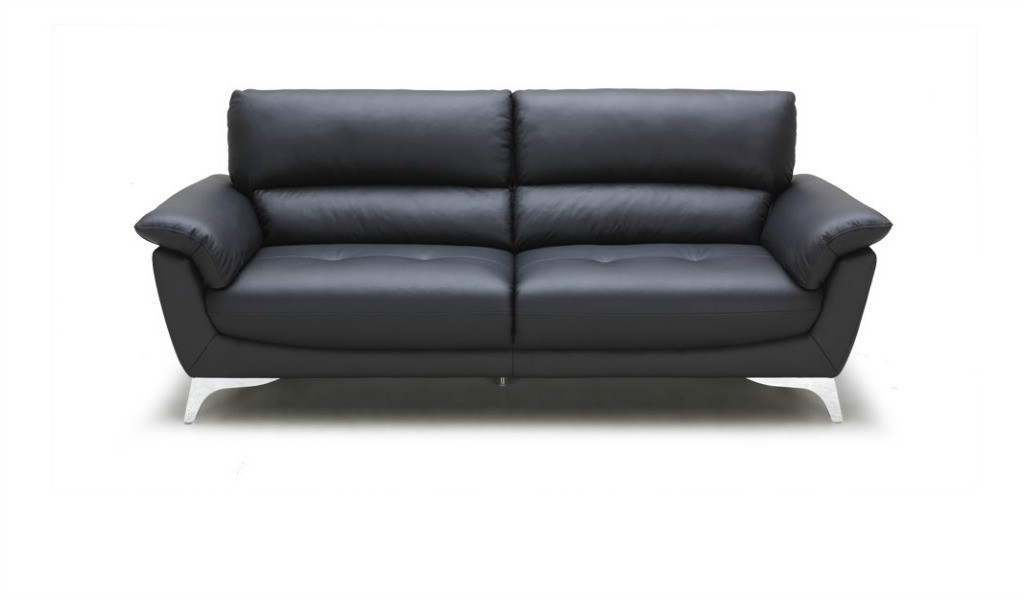 front view of black leather sofa with steel legs