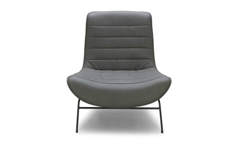 lounge chair in gray leather and black metal legs