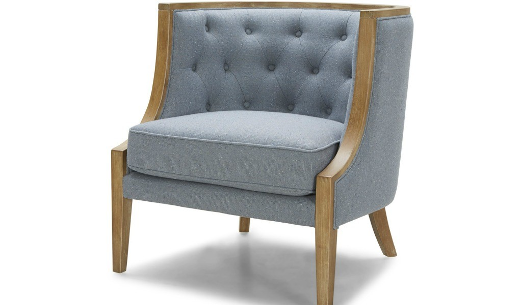 arm chair in blue fabric and oak wood frame