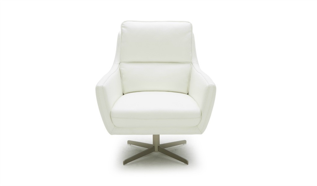 revolving lounge chair in off white leather
