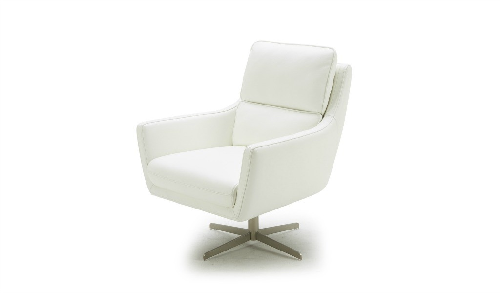 revolving lounge chair in white leather and swivel base
