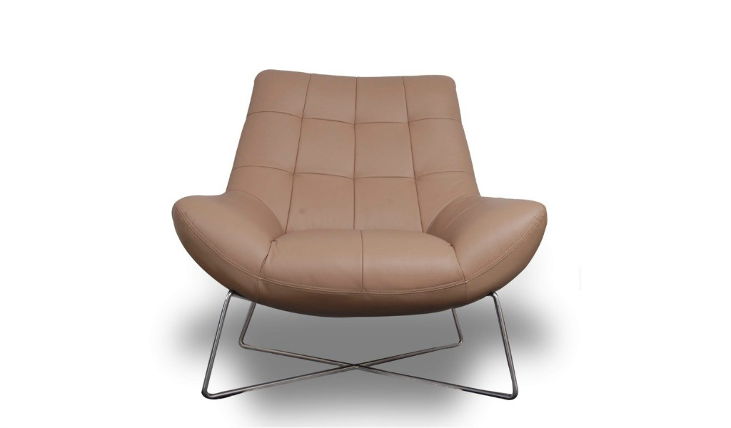 stylish lounge chair in beige leather and steel legs