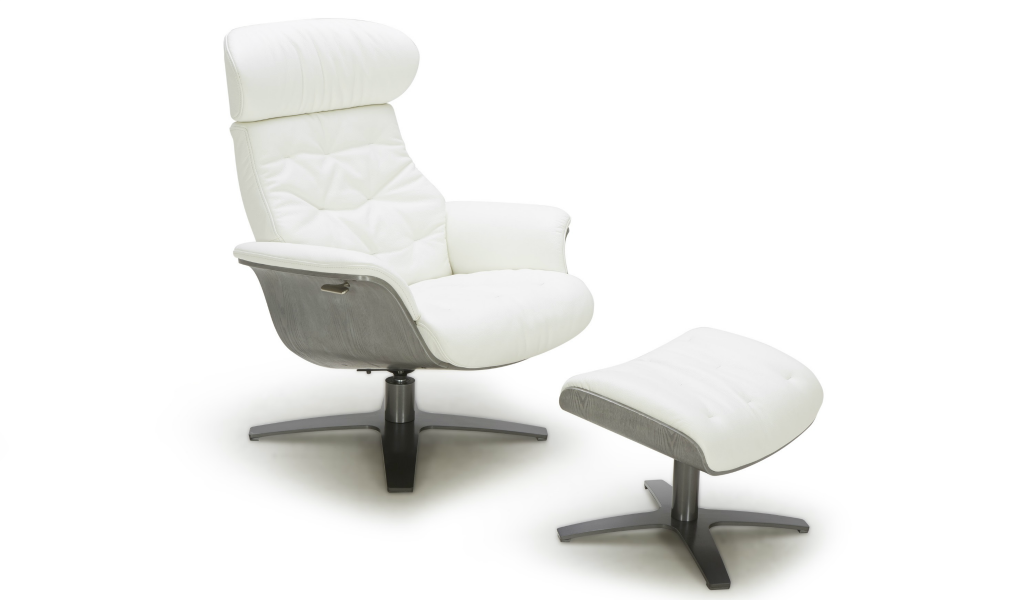 reclining lounge chair in white leather with ottoman