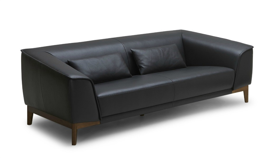 two seater office sofa in black leather