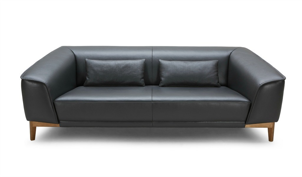 three seater office sofa in black leather with solid wood legs
