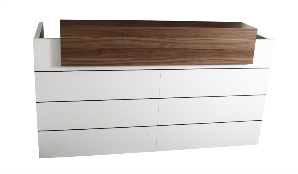 reception table in white and walnut laminate combination