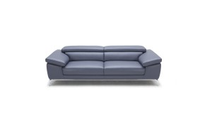 office sofa in blue leather with adjustable headrests