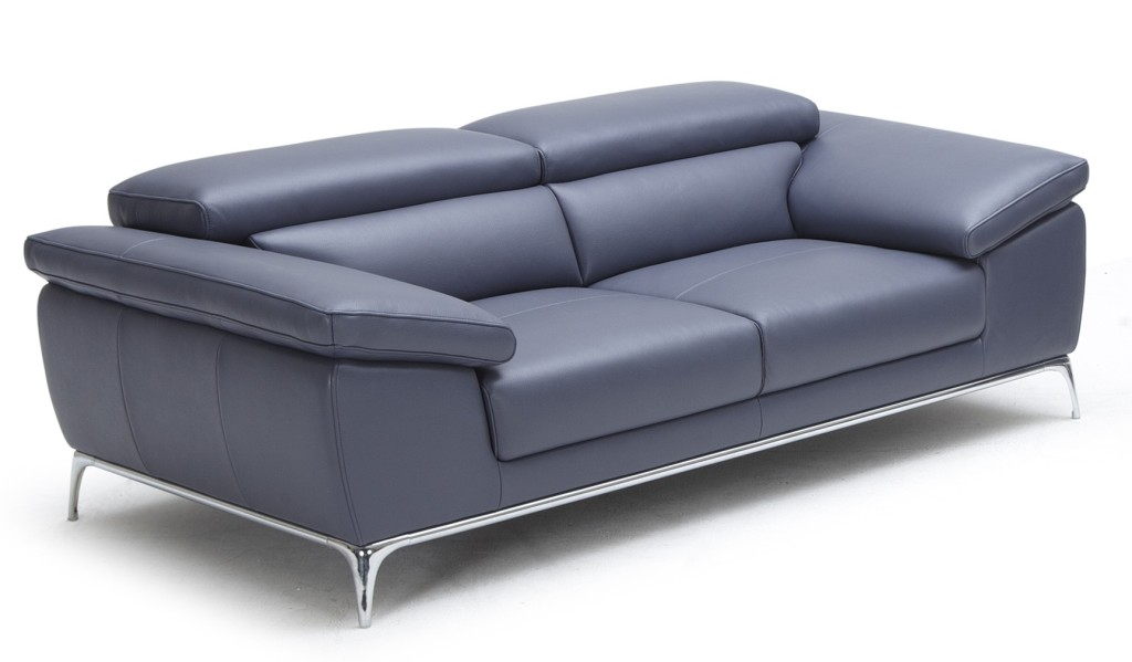 two seater office sofa in blue leather