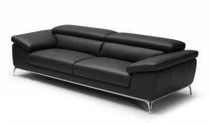 'Ebony' Plush Three Seater Office Sofa In Leather