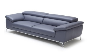 two seater office sofa in blue leather and stainless steel legs