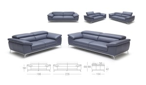 leather office sofa with size drawings