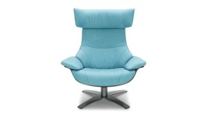 lounge chair in acqua blue leather and gray steel base