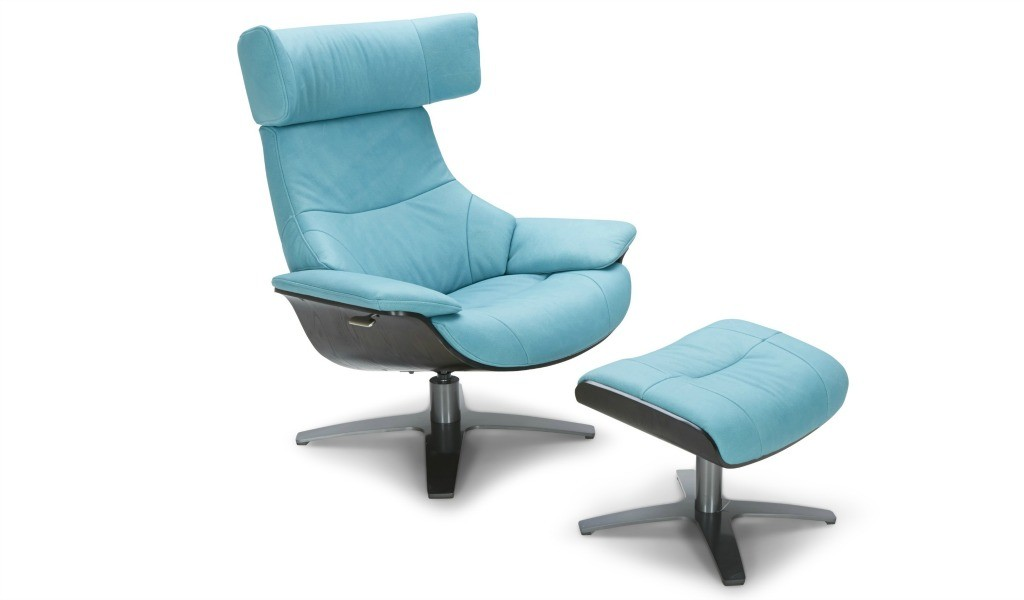 lounge chair and ottoman in acqua blue leather