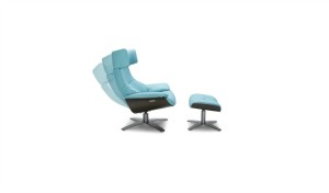 reclining chair in acqua blue leather