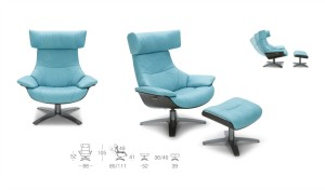 size drawings of lounge chair and ottoman