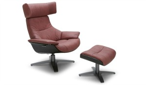 reclining lounge chair and ottoman in wine red leather