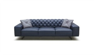 three seater chesterfield sofa in blue leather