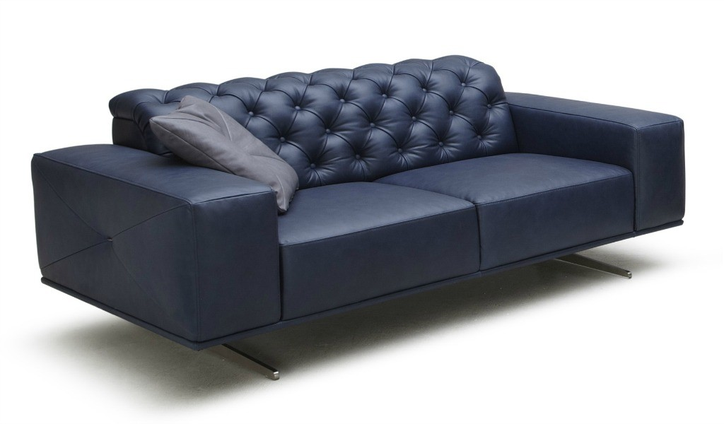 two seater office sofa in blue leather with gray steel base.