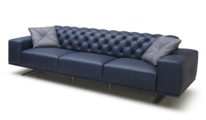 three seater office sofa in blue leather and gray steel legs
