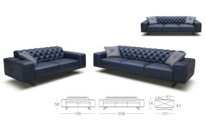 blue leather office sofa with size drawings