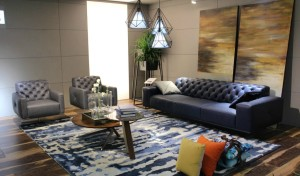 lounge with blue leather sofa