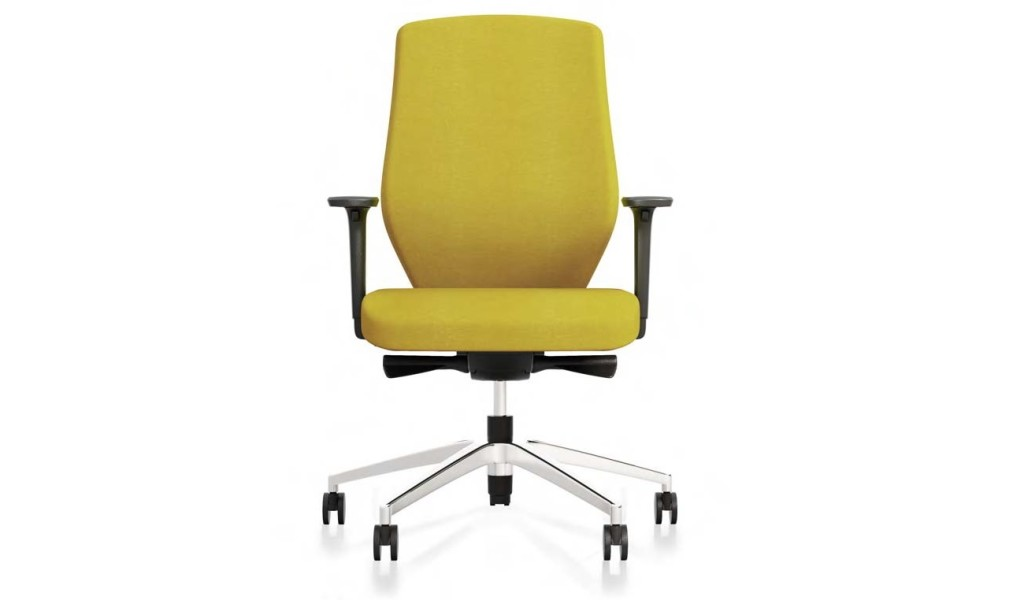ergonomic office chair in yellow fabric with donati synchro tilt mechanism