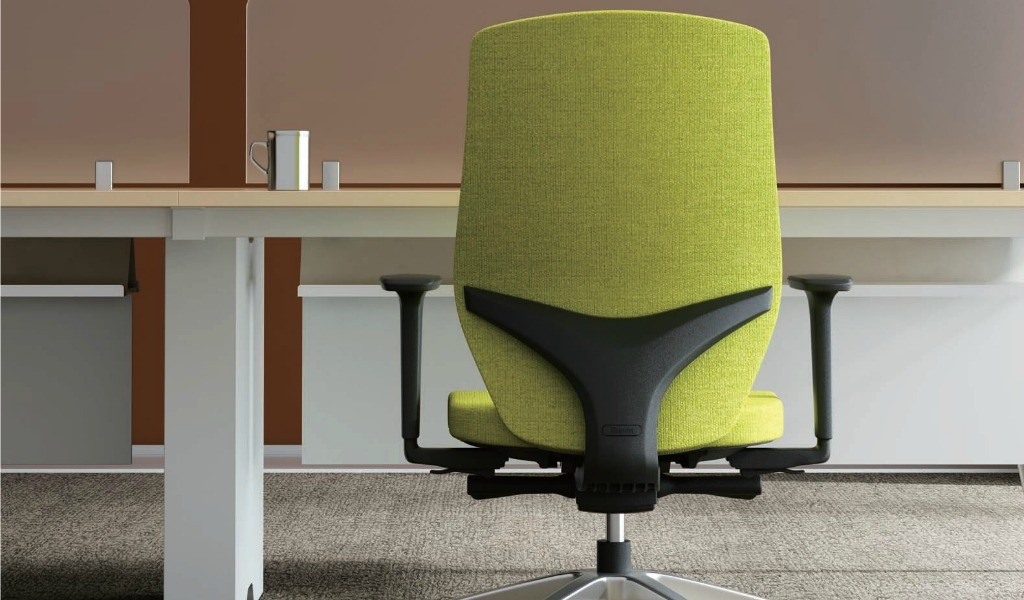 office chair in green fabric back view