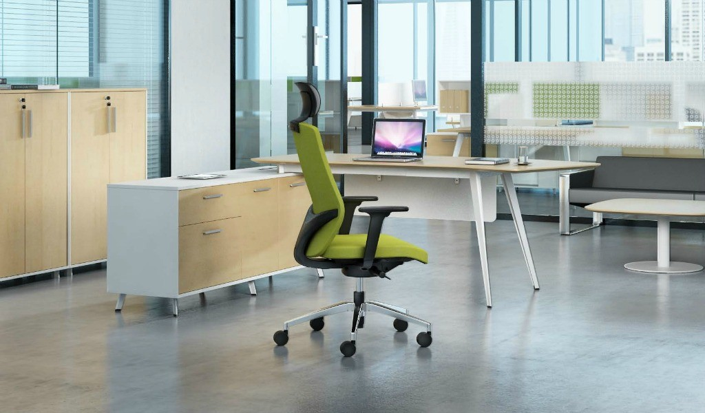 high back office chair in green fabric upholstery and modern office table