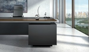 office desk front in dark gray laminate and table top with silver metal edges