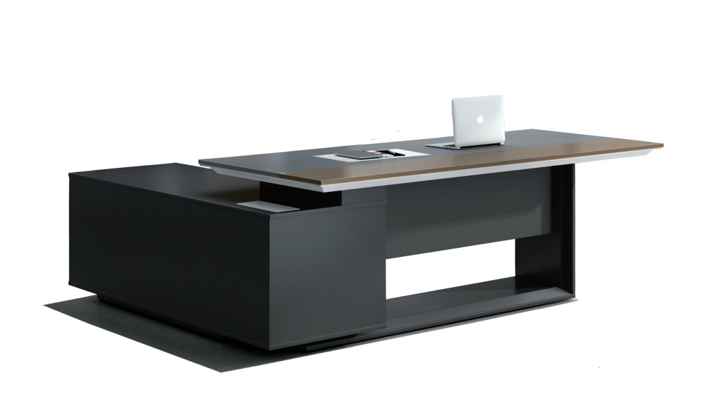 sleek office table with side cabinet