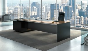 large office cabin with office table and city view in the back