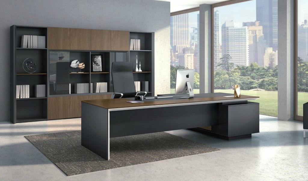 large office with 10 feet office table & rear storage unit in walnut finish