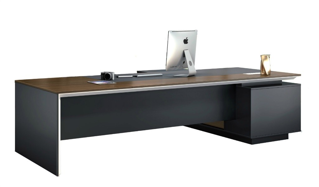 10 feet office desk in walnut & leather finish