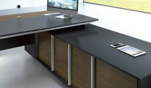 office table top in leather with side cabinet