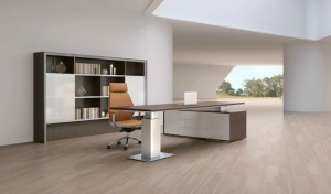 futuristic office with premium office desk with tan leather chair