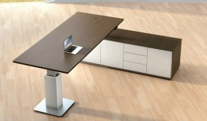 top view of premium office table with side cabinet in dark walnut