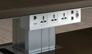 office desk with inbuilt power and data ports