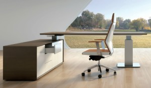 9 feet office desk in dark walnut with side cabinet