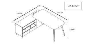 L shape office table shop drawing with left orientation