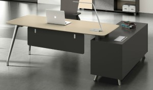 office cabin with lacquer finish office table and side cabinet